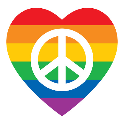 Rainbow Striped Heart Peace Symbol