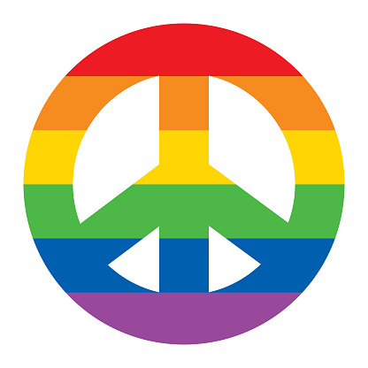 Rainbow Striped Peace Sign