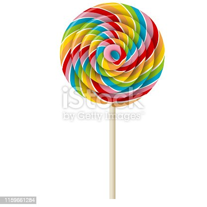rainbow swirl lollipop realistic illustration