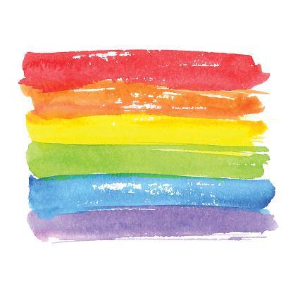Rainbow texture, symbol of gay pride. Vector watercolor spectrum