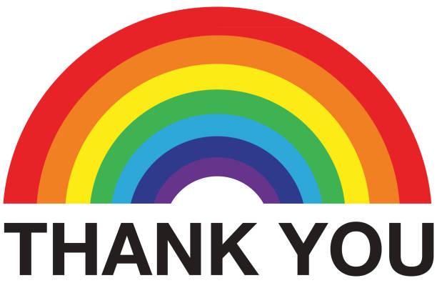 ilustrações, clipart, desenhos animados e ícones de arco-íris obrigado - arco íris