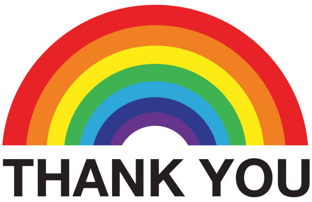 rainbow thank you - essential workers stock illustrations