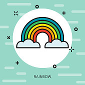 Rainbow Thin Line Spring Icon
