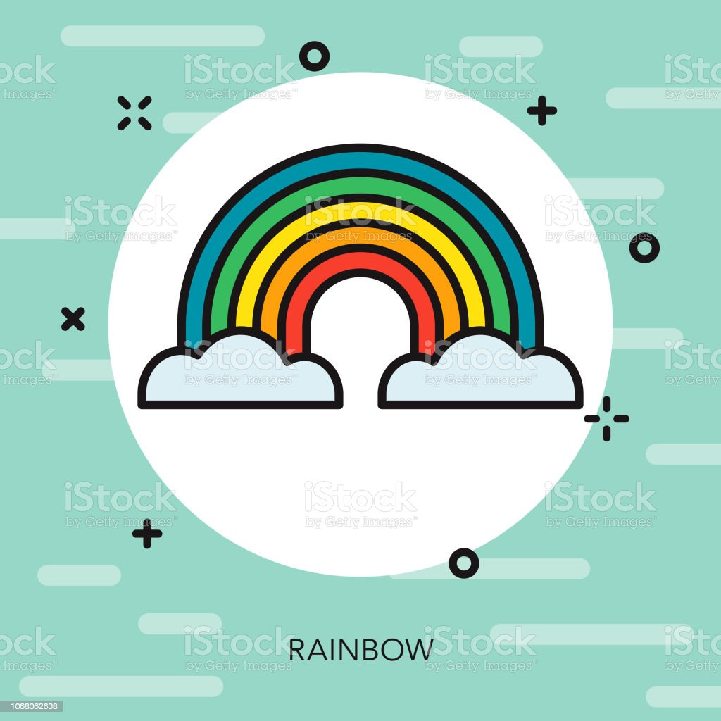 Rainbow Thin Line Spring Icon vector art illustration