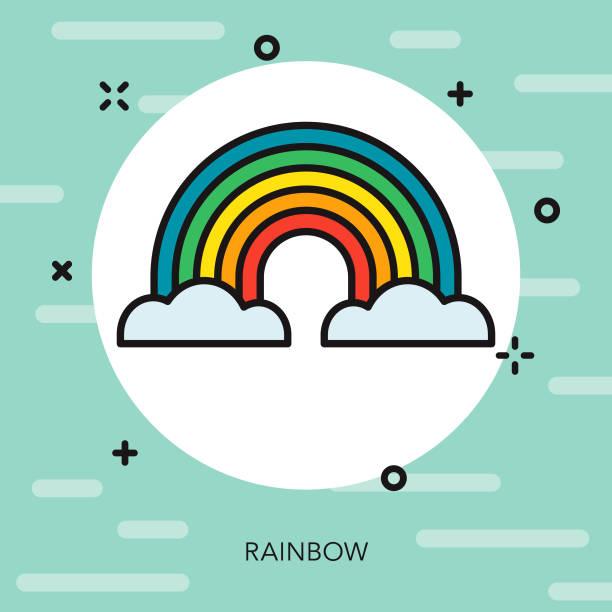 Rainbow Thin Line Spring Icon vector art illustration