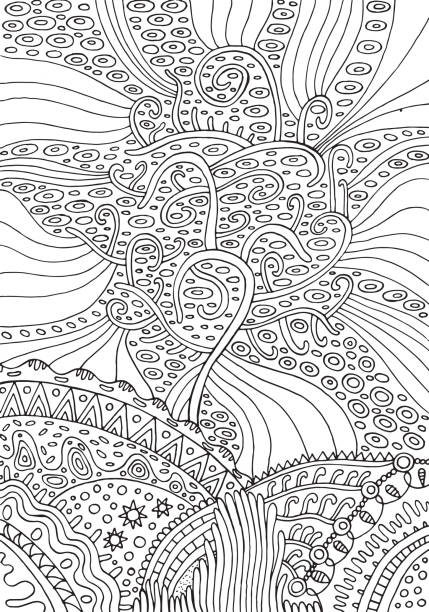 Rainbow tree of life. Surreal fantasy psuchedelic coloring page for adults. Vector illustration. vector art illustration