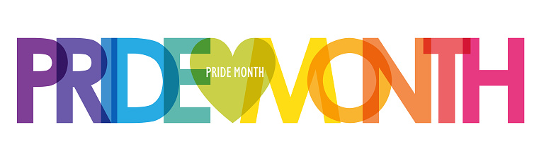 PRIDE MONTH rainbow typography banner