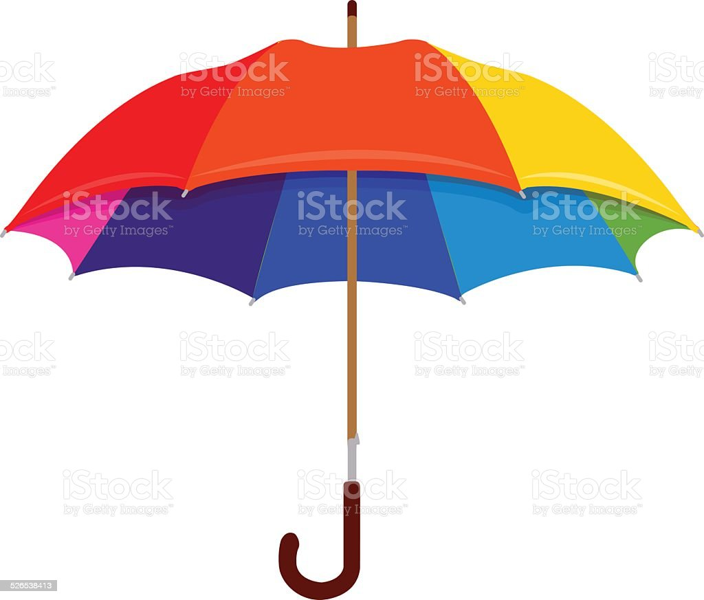 Rainbow umbrella vector art illustration