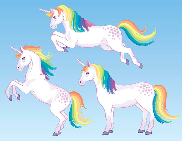 rainbow unicorns - einhorn stock-grafiken, -clipart, -cartoons und -symbole