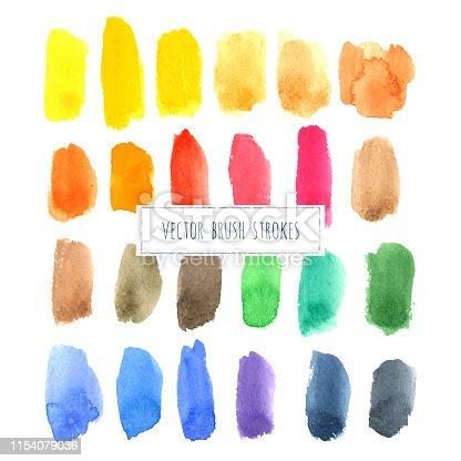 944453740 istock photo Rainbow varied watercolor vector hand painted brush strokes 1154079036