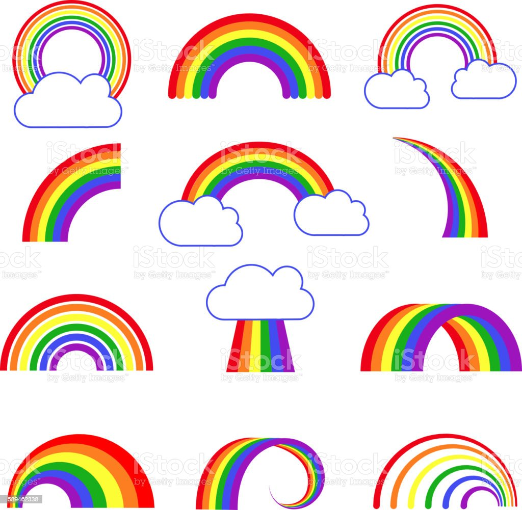 Rainbow vector icons vector art illustration