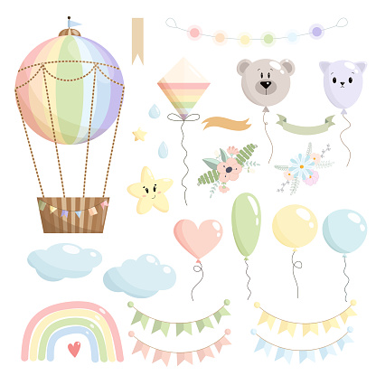 Rainbow vector set of hot air balloon, stars, garland, ribbon without text, clouds, balloons, kite, bear, rainbow, drops, paper flags, and flower compositions on white background. Kids illustration.