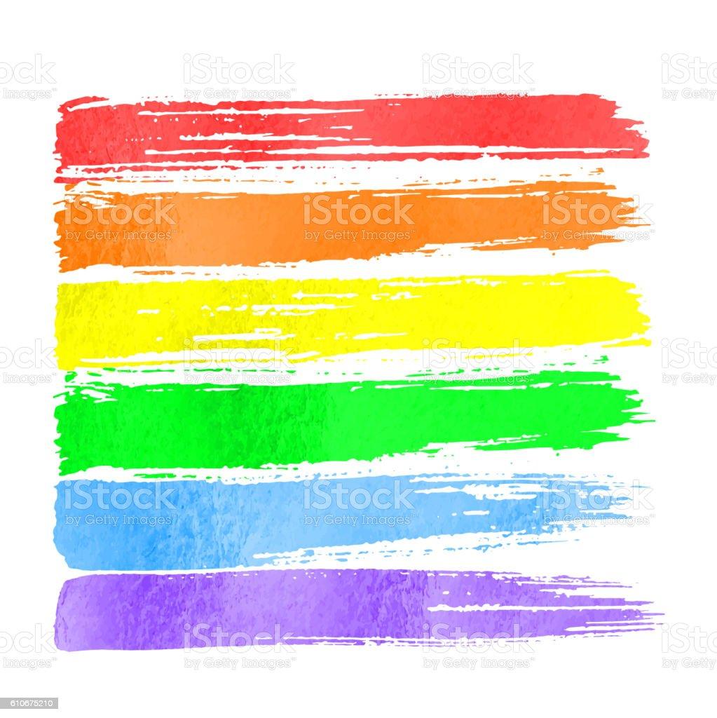 Rainbow vector watercolor hand drawn paint - ilustración de arte vectorial