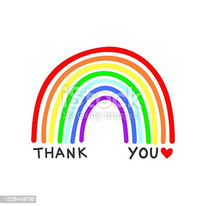 istock Rainbow vector with Thank You text on a white background 1226449795