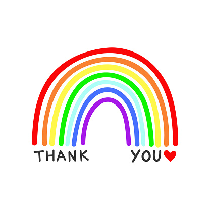 Rainbow vector with Thank You text on a white background