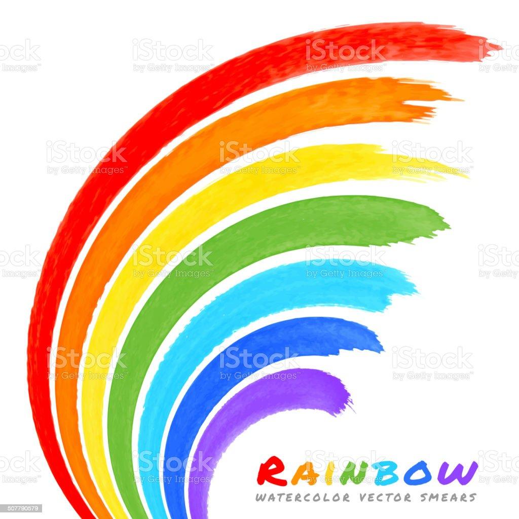 Rainbow Watercolor Brush Smears vector art illustration