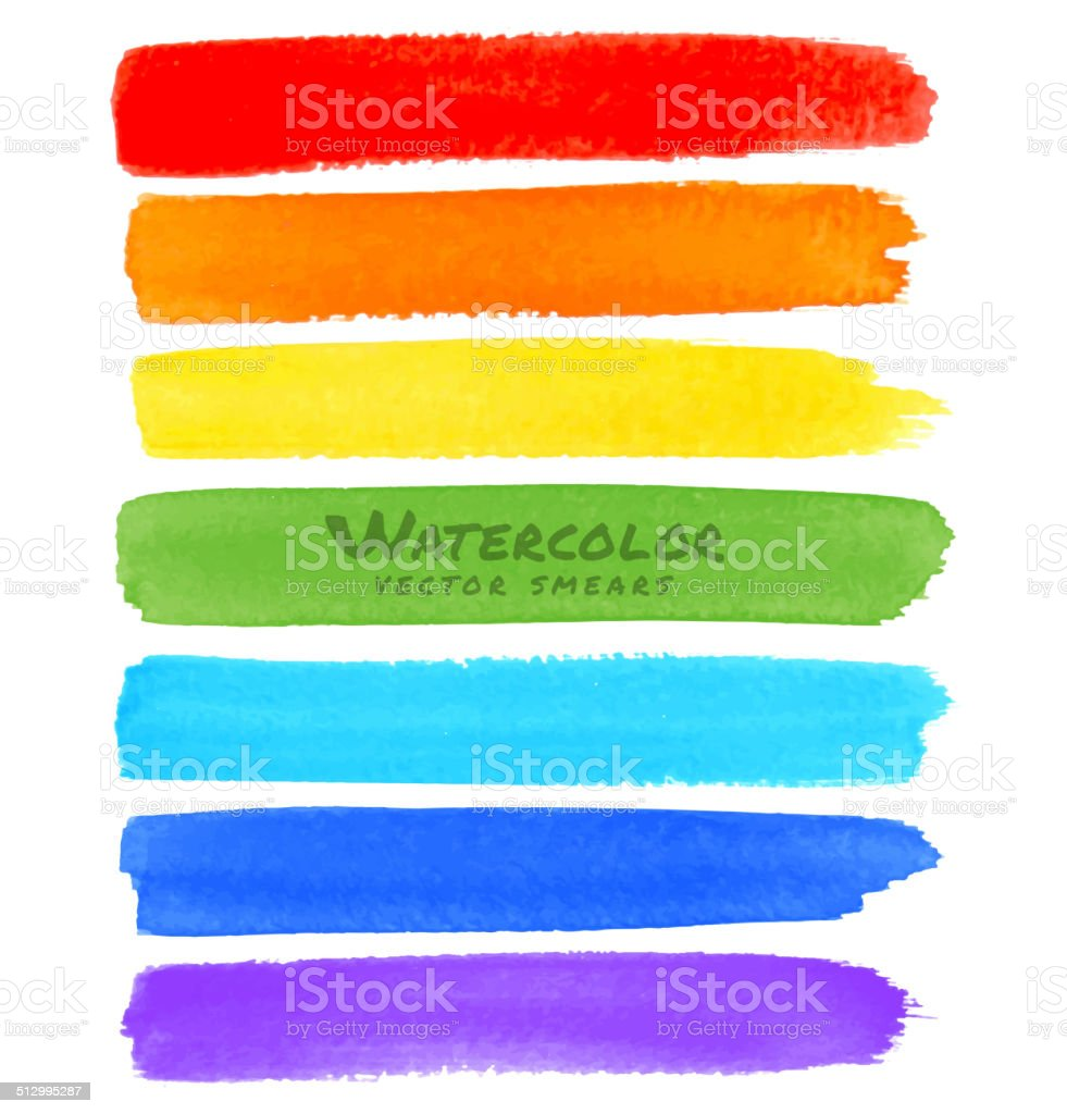Rainbow Watercolor Brush Smears vector art illustration