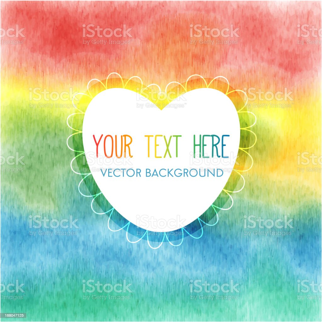 Rainbow watercolor frame royalty-free stock vector art