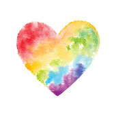 Vector illustration of rainbow watercolor painting.