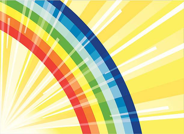 Rainbow with beams of the sun vector art illustration