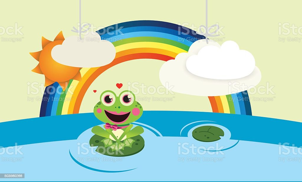 Rainbow with frog and clouds vector art illustration