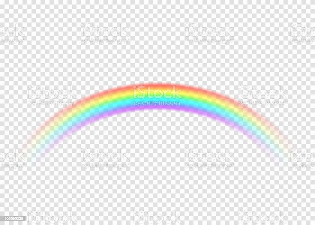 Rainbow with limpid section edge isolated on transparent background vector art illustration