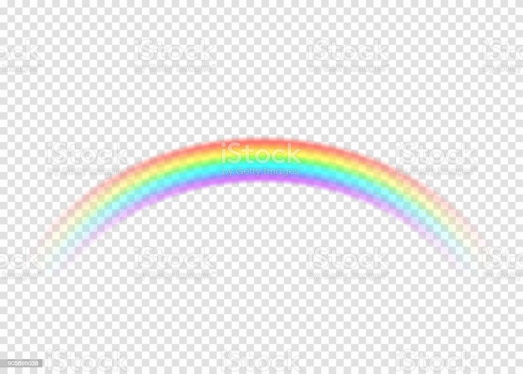 Arco iris con borde de sección límpido aislado sobre fondo transparente - ilustración de arte vectorial