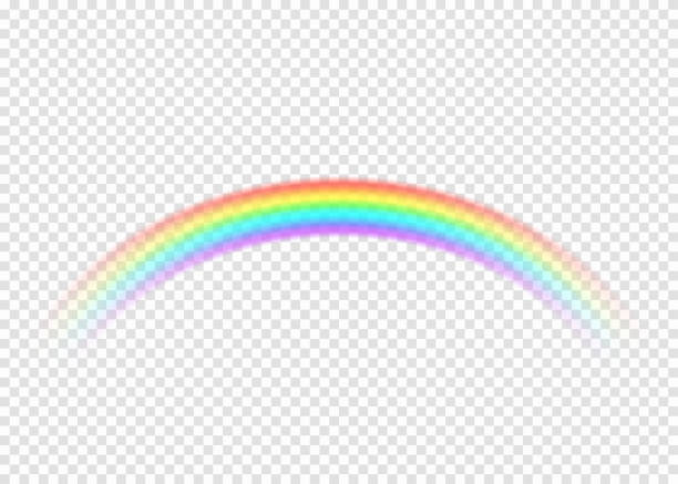 Rainbow with limpid section edge isolated on transparent background Rainbow with limpid section edge isolated on transparent background. Realistic rain arch in circle curl shape. Vector illustration rainbow stock illustrations