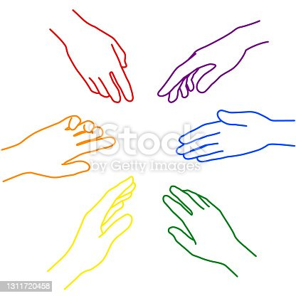 istock Rainbow-colored hand illustrations representing diversity and cooperation (white background, vector, cut out) 1311720458