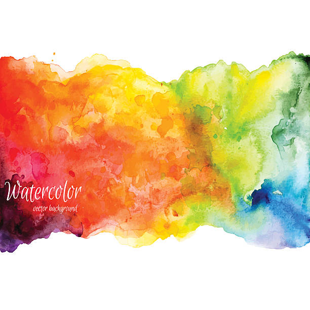 stockillustraties, clipart, cartoons en iconen met rainbow-colored watercolor illustration over white - acrylverf