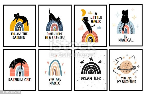 Rainbows and cats nursery posters collection. Wall art set with cute black kitten. Magic cards in scandinavian style for babies and kids. Vector illustration