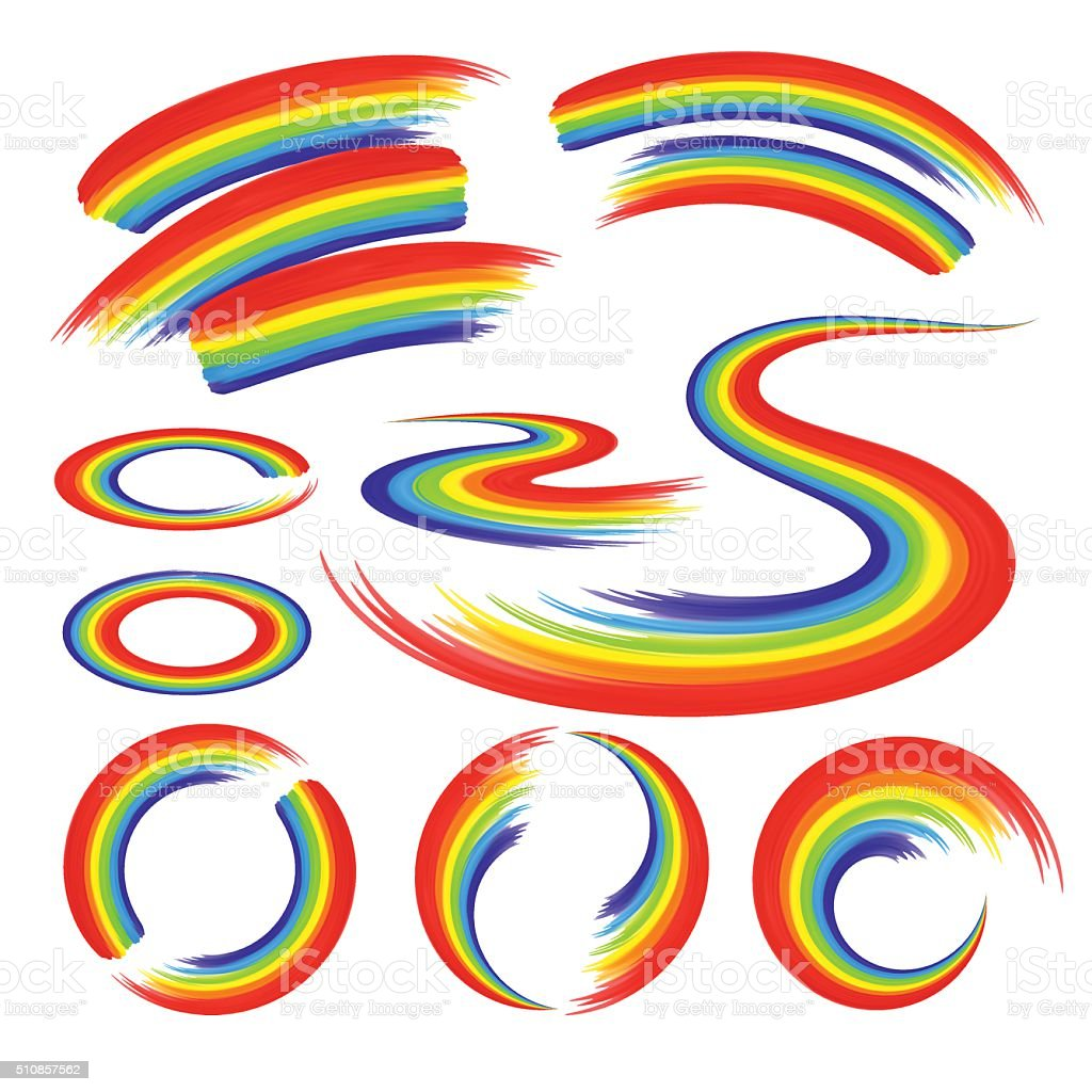 Rainbows in abstract shape set vector art illustration