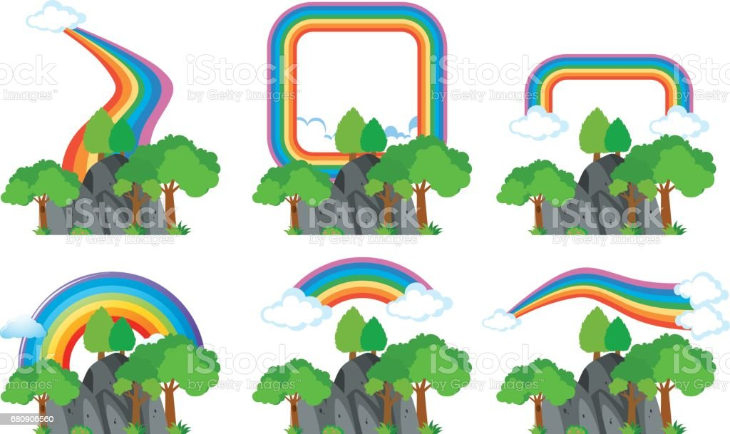 Rainbows over the rocky mountains royalty-free rainbows over the rocky mountains stock vector art & more images of art