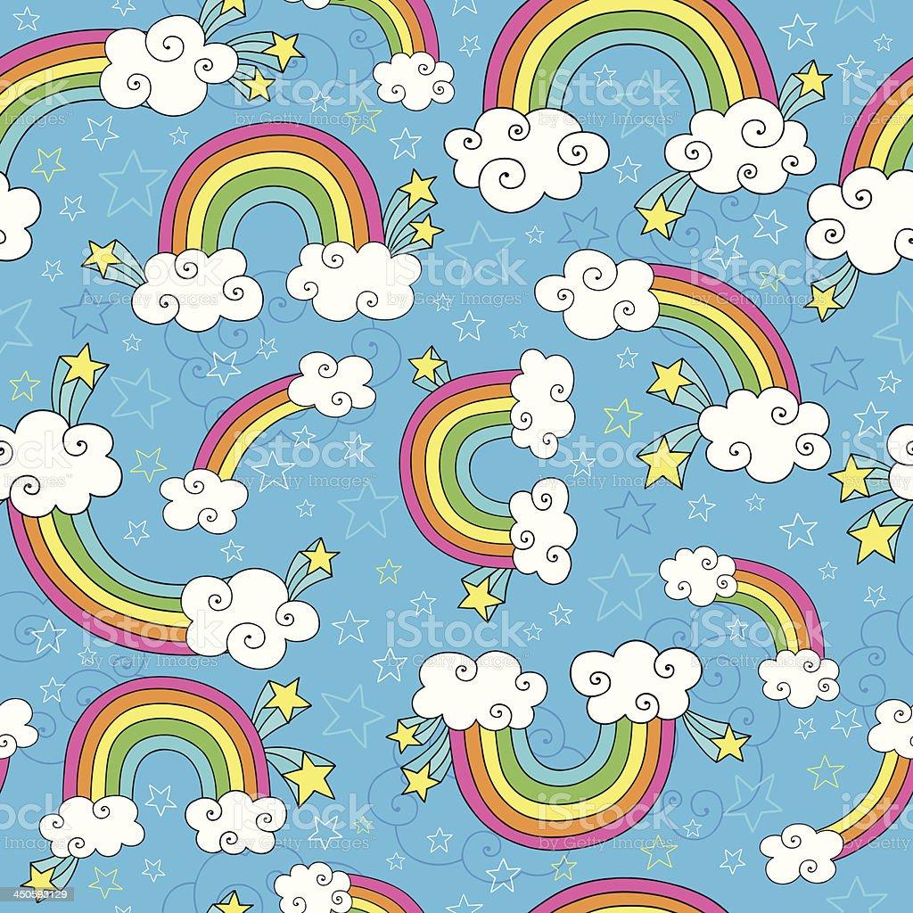 Rainbows Seamless Pattern Doodle Vector Design vector art illustration