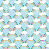 Rainbows with clouds and rain drops. Cute seamless pattern, cartoon vector illustration for nursery fabric, background, wallpaper, scrapbooking projects for kids. Surface pattern design.