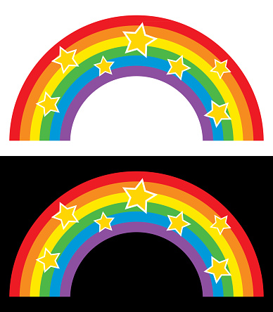 Rainbows With Gold Stars
