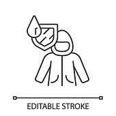 istock Raincoat linear icon 1190038666