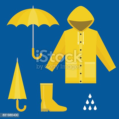 istock raincoat, rubber boots, open and close umbrella, raindrops, set of rainy season in flat design vector 831985400
