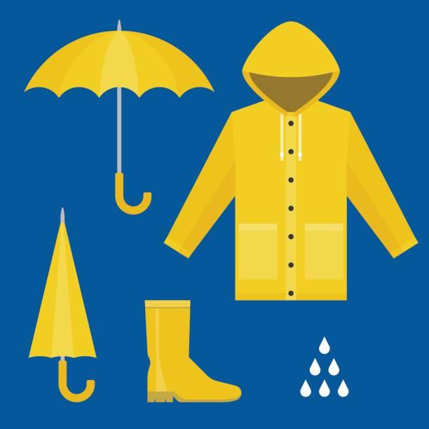 regenjacke, gummistiefel, öffnen und schließen regenschirm, regentropfen, regenzeit in flache design vektor-set - kinderstiefel stock-grafiken, -clipart, -cartoons und -symbole