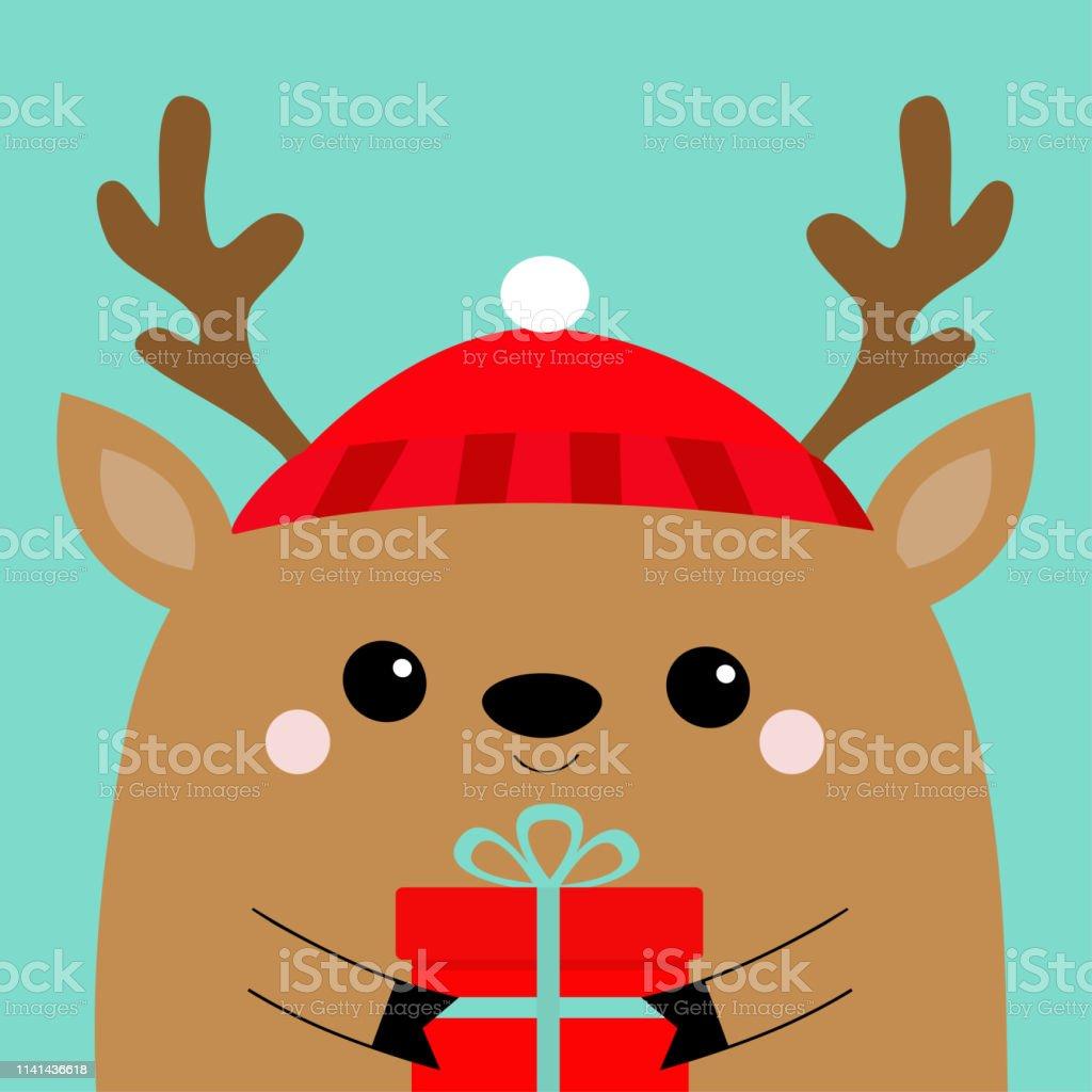 Tête De Cerf Raindeer Visage Tenant Boîte Cadeau Chapeau