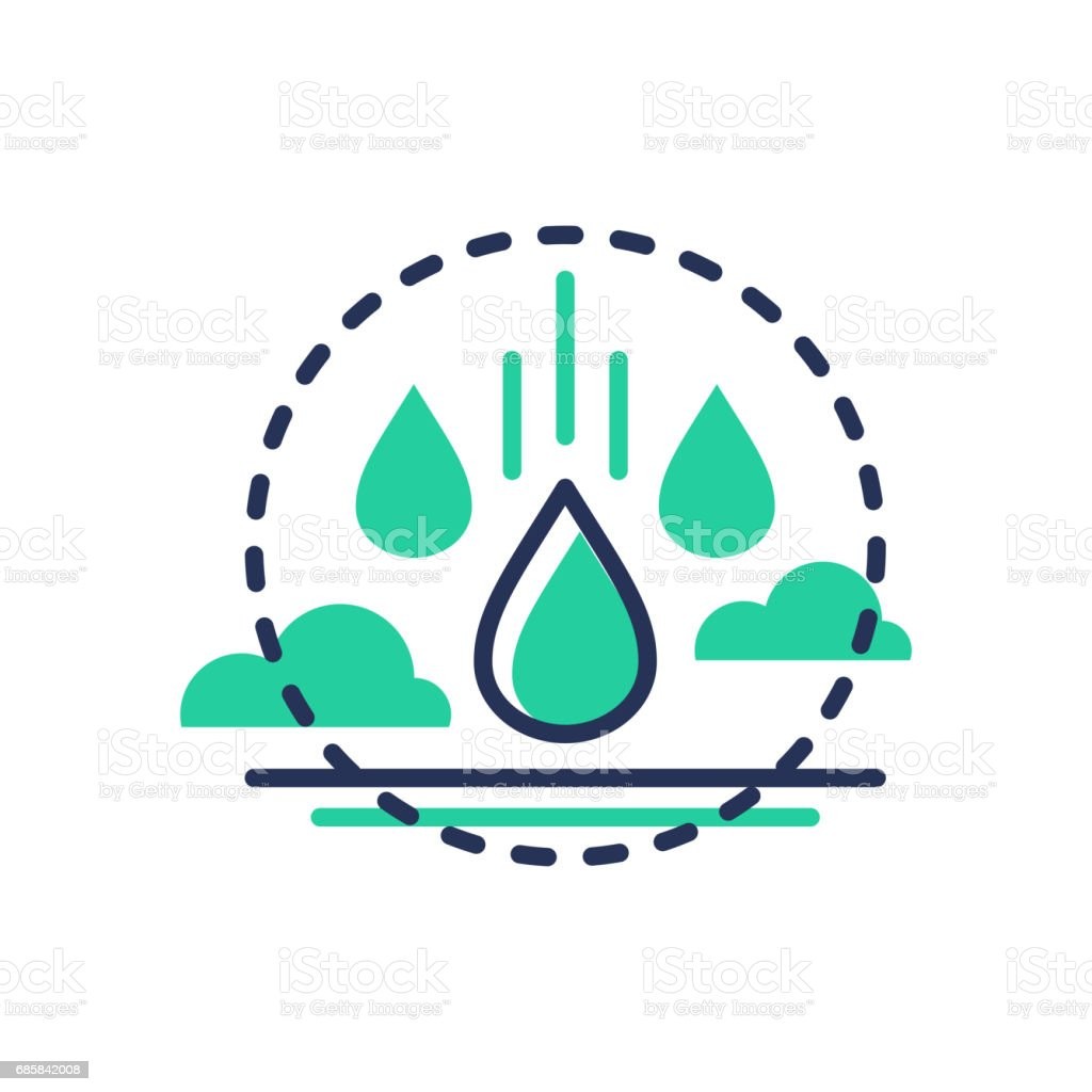 Raindrop - modern vector single line icon vector art illustration