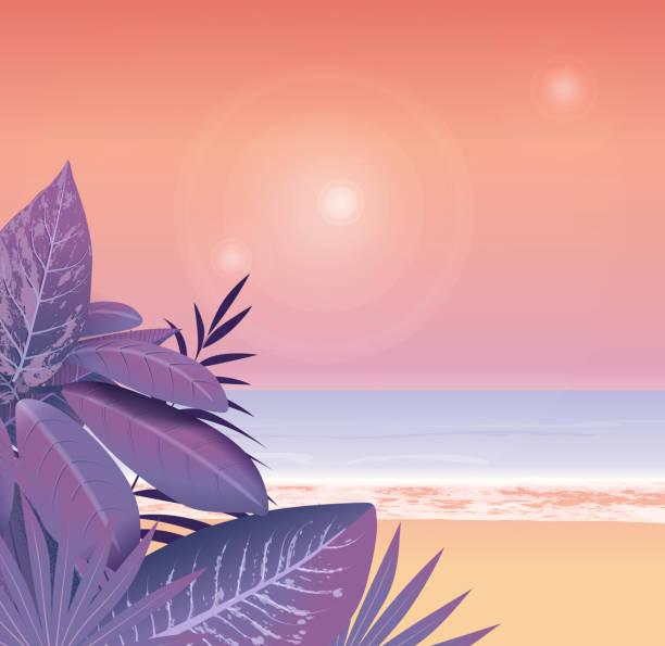 Rainforest and beach vector art illustration