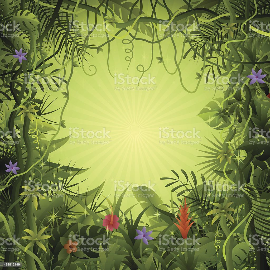 Rainforest background vector art illustration