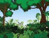 Rainforest vector illustration. Vector Green Tropical Forest jungle