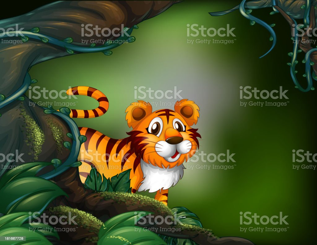 rainforest with a tiger royalty-free stock vector art