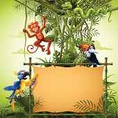 Rainforest with Banners and Wild Animals
