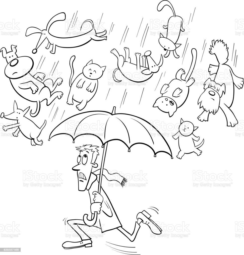 çizgi Film Illüstrasyon Boşanırcasına Yağmur Stok Vektör Sanatı