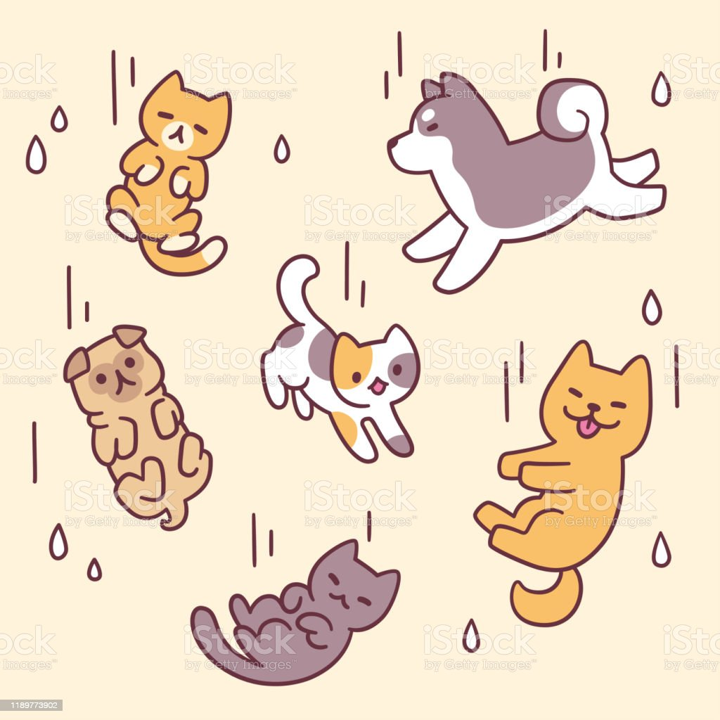 Raining Cats And Dogs Stock Illustration Download Image Now Istock