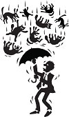 It raining cats and dogs and a business man is caught in the middle of it. Please check out my other images :)