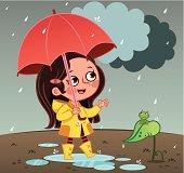 A little girl walking in rain with umbrella.